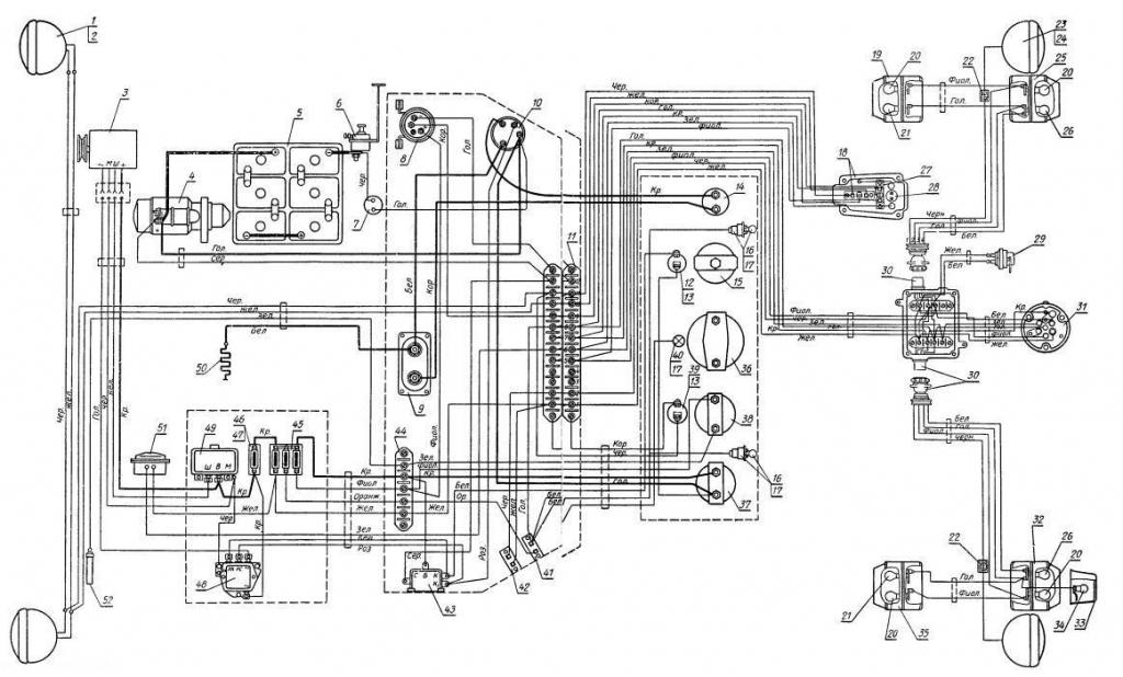 Принципиальная электросхема Т-25